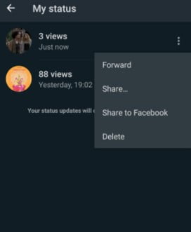 How to share status videos of others?