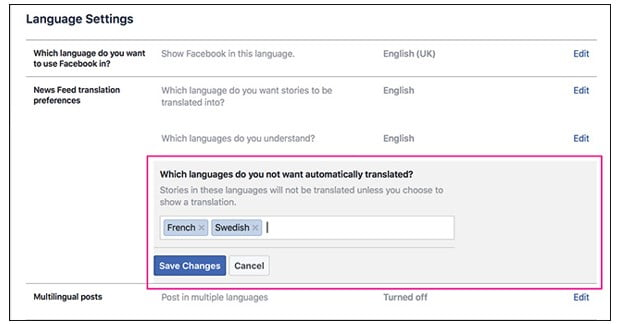 Why is Facebook Automatically Translating English links to local language?